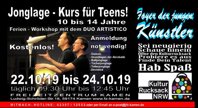 Header Foyer Kulturrucksack 2019 Jonglage black